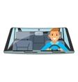 Vehicle interior driver car wheel ride driving vector image vector image