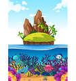Scene with island and fish under the sea vector image