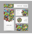 Business card collection abstract floral design vector image