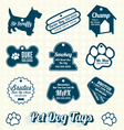 Pet Dog Name Tag Labels and Icons vector image