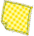 piece of yellow plaid fabric vector image