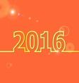 2016 Happy New Year on orange background vector image