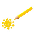 Yellow Pencil With Sun vector image