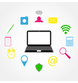 laptop and Icons vector image