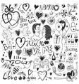 love doodles set vector image vector image