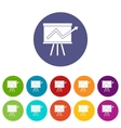 Flip chart with statistics set icons vector image