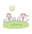 kids flowers chalky vector image