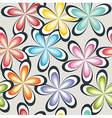 seamless abstract 70s flowers pattern vector image