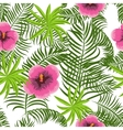 Tropical jungle palm leaves hibiscus pattern vector image
