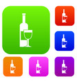 wine bottle and glass set color collection vector image