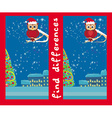 Winter card with cute owl find the differences vector image