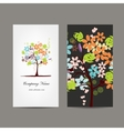 Business cards design with floral tree vector image vector image