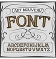 art nouveau label font on a dark backround vector image