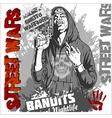 Bandit and gun Man with revolver vector image