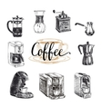 hand drawn coffee set Sketch vector image