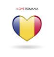 love romania symbol flag heart glossy icon on a vector image