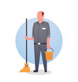 man cleaner icon cleaning service worker vector image