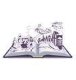 Open book fairy tale snow queen vector image