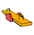 yellow seesaw icon icon cartoon vector image