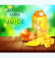 pack of mango juice with slices and diced mango vector image