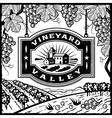 Vineyard Valley black and white vector image