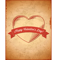 Aged vintage Valentines Day card vector image