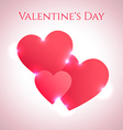 Hearts background with red hearts and shiny lights vector image vector image