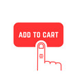 add to cart button with red thin line palm vector image