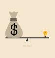 Balancing between money and idea vector image