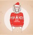 christmas hipster fashion animal lion vector image