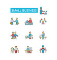 small business thin line icons vector image