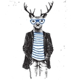 Hand drawn dressed up deer in hipster style vector image