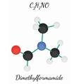 Dimethylformamide C3H7NO molecule vector image