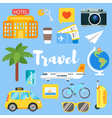 flat style set of travel objects vector image