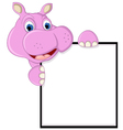 funny hippo cartoon with blank sign vector image vector image