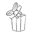 open gift box ribbon festive sketch vector image