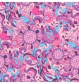 Pink blue pattern with bird Phoenix and sunflower vector image