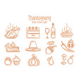 thanksgiving line icon set vector image