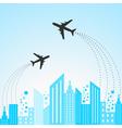 Blue cityscape scene with aeroplane vector image