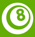 black and white snooker eight pool icon green vector image