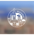 Minimalist round icon of Marseille France Flat vector image