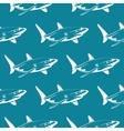 White sharks over blue seamless pattern vector image
