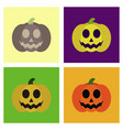 assembly flat icons halloween emotion pumpkin vector image