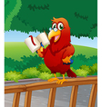 A parrot reading a book above the wooden fence vector image vector image