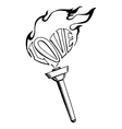 flaming heart torch of love vector image