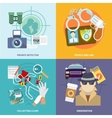 Detective icons set flat vector image