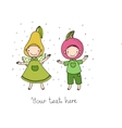 Cute cartoon apple and pear vector image