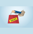 business hand holding red bag with box vector image