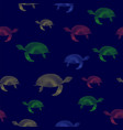 colored turtles icon seamless pattern vector image