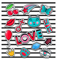 fashion icons collection set of stickers pop art vector image